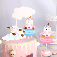 Unicorn Cloud Party Cake Topper Wedding Cupcake Decoration Happy Birthday Party Supplies Baby Children Party Decor happy birthday banner baby shower balloons cake topper for wedding decor unicorn birthday party supplies