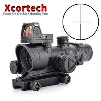 Тактический ACOG 4x32 красной подсветкой Прицел Сетка прицел с Reflex Регулируемый мин Красный точка зрения для Airsoft Охота