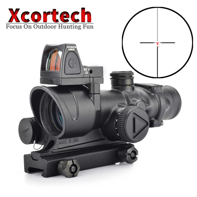 Tactical ACOG 4x32 Red Illuminated Riflescope Reticle Rifle Scope With Reflex Adjustable Min Red Dot Sight For Airsoft Hunting