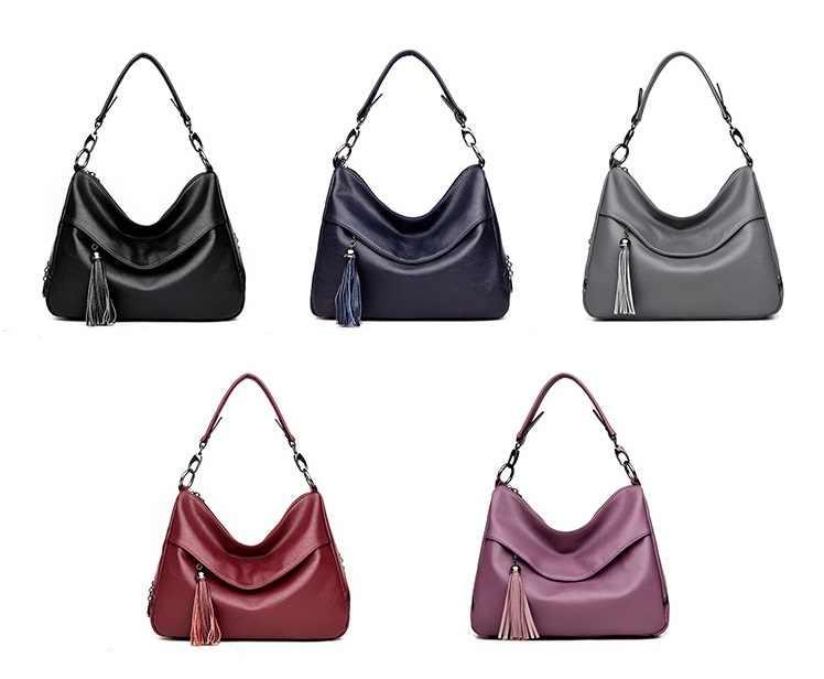 Tas Selempang untuk Wanita Fashion Wanita Tas Kulit Asli Totes Tas Lembut Rumbai Wanita Tas Bahu Designer 2019 Baru C860