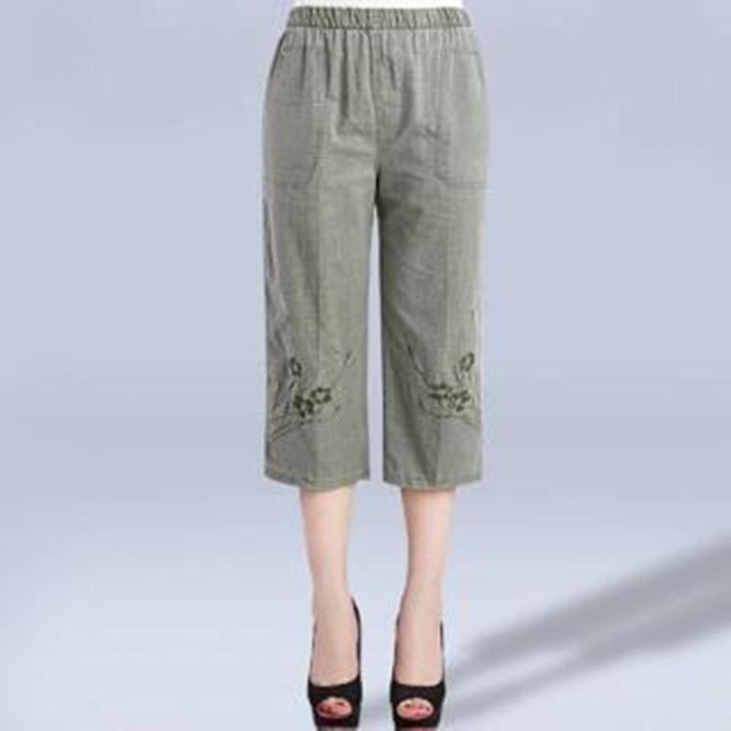 2019 Women Plus Size   Capris     Pants   Summer Elastic Waist Casual   Pants     Capris   High Waist Straight Linen   Pants   XL-4XL