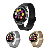 Bluetooth Smart Watch Heart Rate Monitoring Sleep Monitoring Steel strap Waterproof touch screen Smartwatch For IOS Android