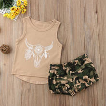 2018 New Sty Kid Boy Girl Cattle Clothes Summer Kid Baby Animal T-shirt Top+Camo Shorts Pants Children Military Outfits(China)