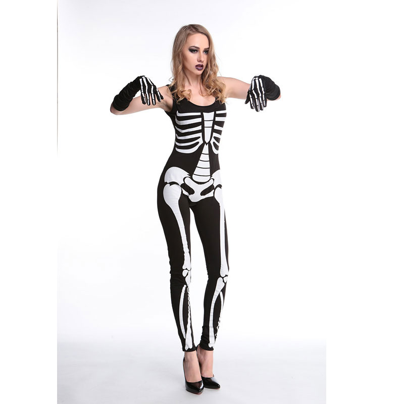 Skeleton Printed Zombie Jumpsuit Costume Halloween Harror