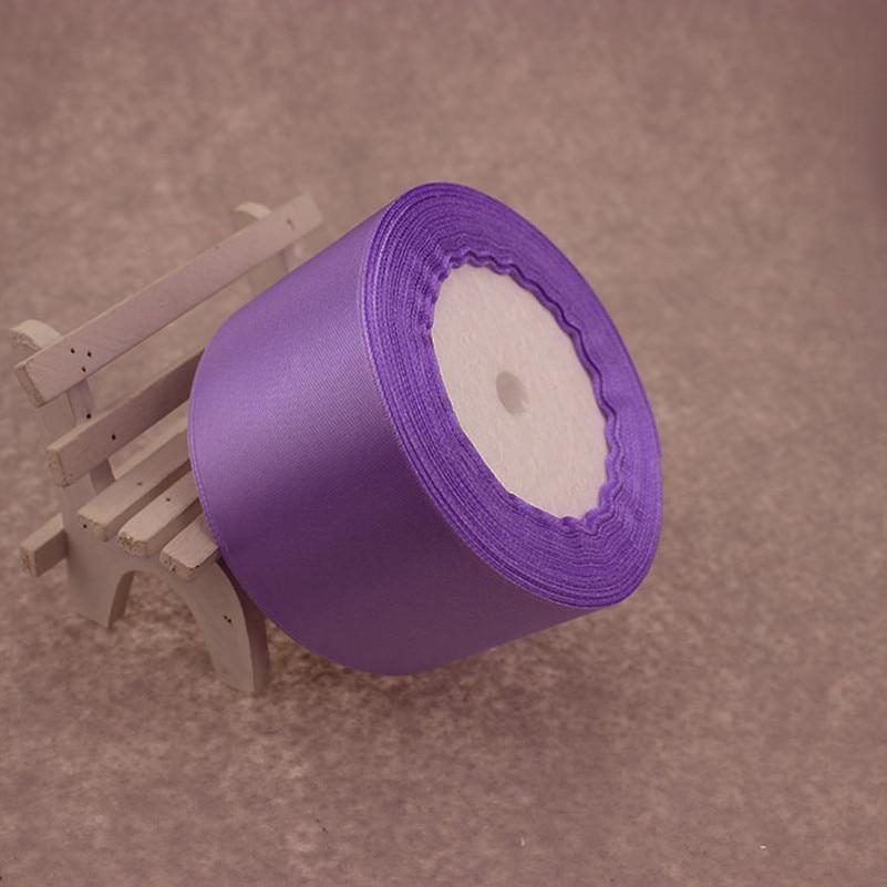 25 метров/рулон 50 мм 2 дюйма светло-фиолетовый атлас Ленты для свадьбы Аксессуары оптовая продажа подарочной упаковки ленты