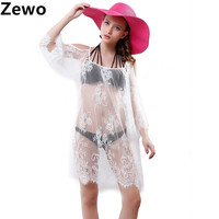 Womens Tops Moda 2015 Beach Sunscreen Clothing Beautiful Lace Strapless Lace Hollow Sexy Dress Sexy Swimsuit