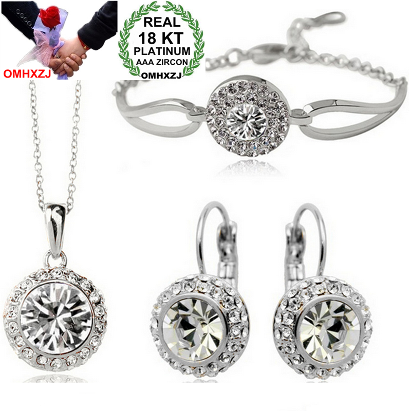 OMHXZJ Wholesale AAA Zircon Crystal Silver 18KT Platinum Woman Bride Moon River Necklace Earrings Bracelets Jewelry Sets ST12-1