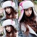 Envío gratis 2014 nuevas mujeres bomber sombrero sombrero de invierno gorras sombreros de punto para la mujer gorro de piel de conejo la moda de invierno gorros ladies Rose red