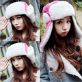Free shipping 2014 New Women bomber Hat Winter Caps Knitted Hats For Woman Rabbit fur cap winter fashion beanies ladies Rose red