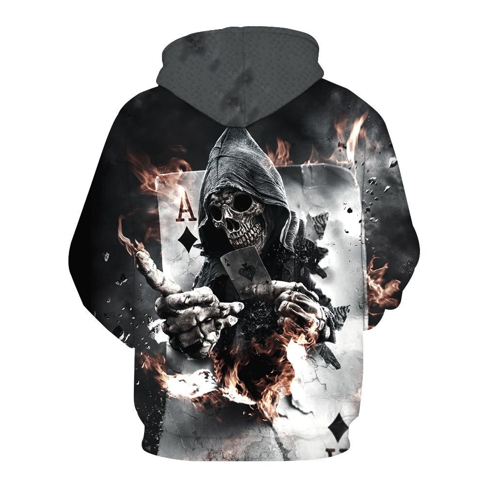 New Fashion Men/Women 3d Hoodies Print Poker Skull Flame Burning Hooded Hoodies Autumn And Winter Thin 3d Sweatshirts Hoody Tops