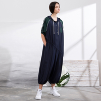 IRINAW051 new arrival summer 2018 casual hooded loose long cupro overalls jumpsuits women