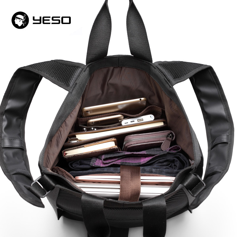 YESO Men's Backpack Fits 15.6 Inch Laptop Backpacks Multi-function Waterproof Oxford Backpacks Travel School Black Business Bags