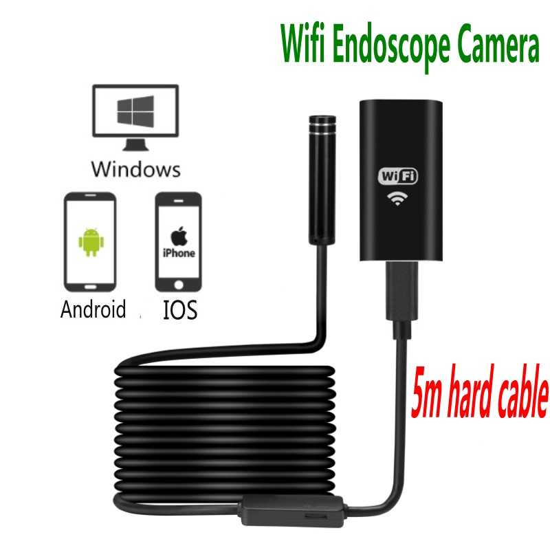 5pcs Newest Wifi Android IOS PC Endoscope camera 5m hard cable Wireless Waterproof Iphone Endoscope Camera 8mm WiFi Endoscope leshp wifi endoscope camera hd 2mp 8mm android hard wire ip67 endoscope camera 1 2 3 5m wifi distance for iphone android ios pc