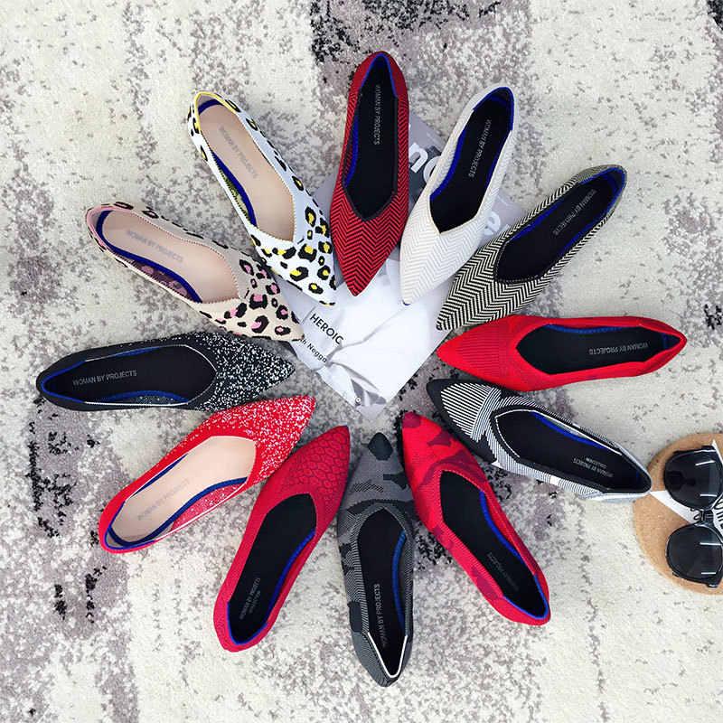 Женские туфли-лодочки стрейчевый вязаный смешанные цветные Мокасины дышащие удобные работать в простом стиле Модные женские Туфли без каблуков свет Лоферы для вождения автомобиля