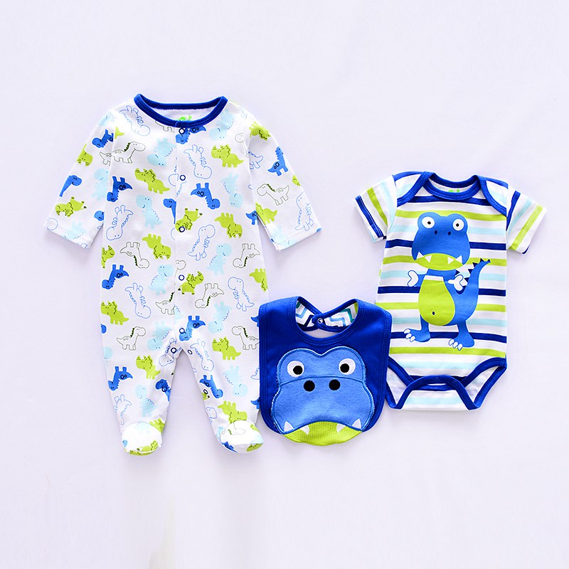 Summer Baby Boy Rompers 3pcs Sets Cotton Cute Baby Clothes Romper Suit Newborn Girl Suit Infant Long Sleeve Rompers+rompers+bib