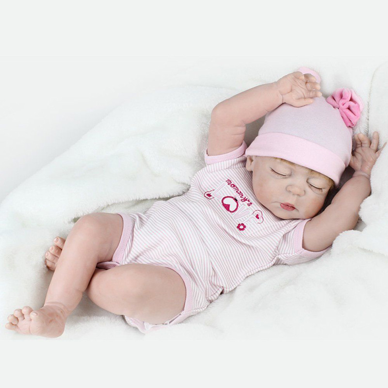 22'' Vinyl Sleeping Doll Alive 55cm Newborn Girls Dolls Handmade Full Silicone Reborn Baby Dolls Toys for Best Children Gifts 23 real baby dolls handmade full silicone reborn doll alive soft vinyl baby princess dolls toys for girls children kid gifts