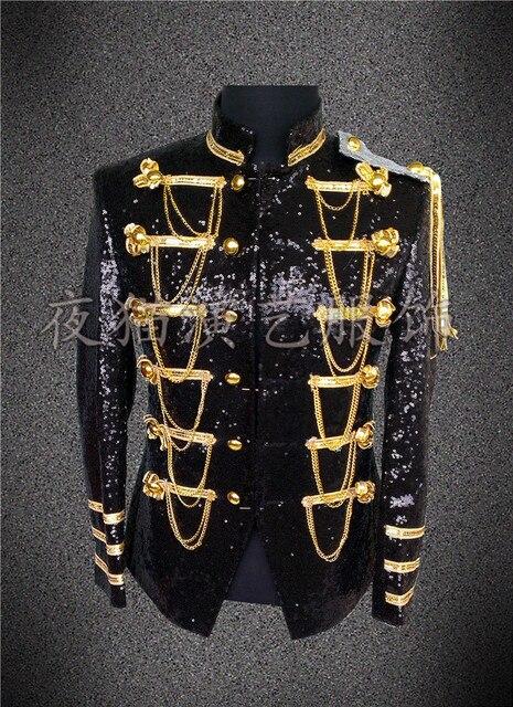 Мужчины куртка певица танцор носите Пользовательские салон мужской блестки stage blazer пром наряд пальто бар концерт звезд костюмы ночной клуб