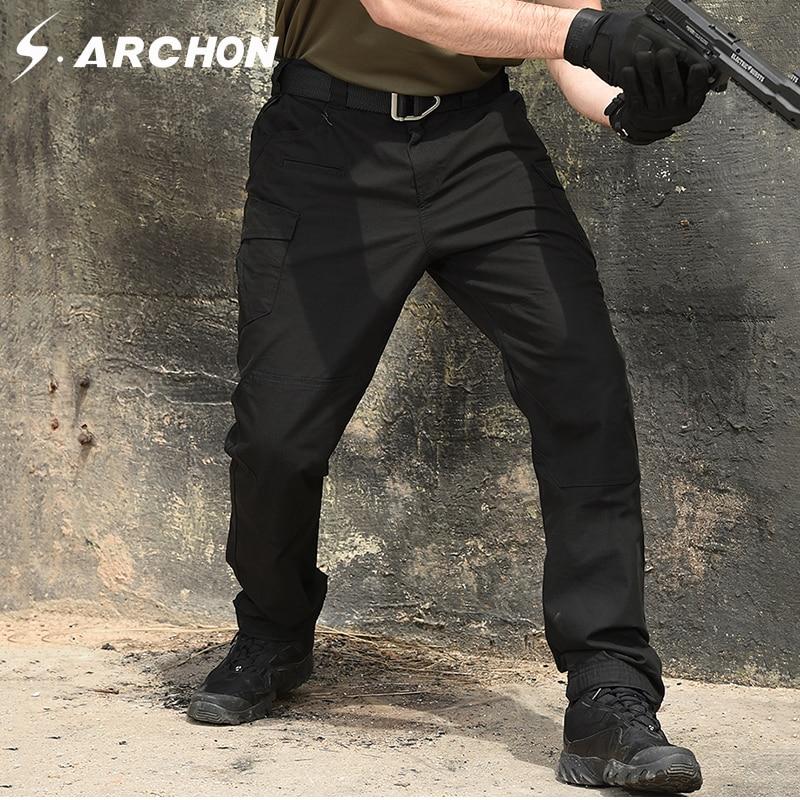 S. ARCHON wodoodporne bojówki wojskowe cargo mężczyźni US Army żołnierz specjalne siły taktyczne spodnie Multi kieszenie bawełniane spodnie bojowe w Bojówki od Odzież męska na AliExpress - 11.11_Double 11Singles' Day 1