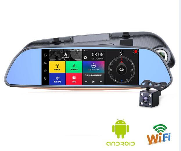 Best 3G Smart dvr Mirror 7 Touch 1GB/16G ROM 2 Split View Android GPS Navigation Mirror Car DVR Duall Mirror Video Recorder
