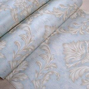 Image 4 - Distressed Tapete für Wände 3 d Vintage Vlies Tapete Rollen Teal Blau Damast Wand Papier Blumen für Schlafzimmer 10m
