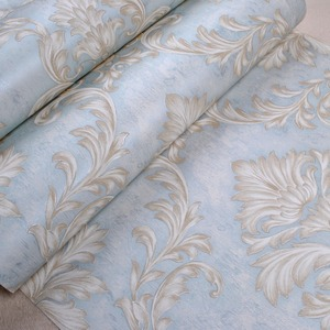 Image 4 - Distressed Wallpaper for Walls 3 d Vintage Non Woven Wallpaper Rolls Teal Blue Damask Wall Paper Floral for Bedroom 10m