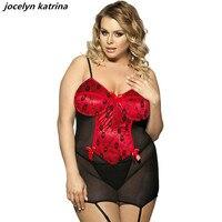 Jocelyn katrina stile caldo della biancheria esotica delle donne di marca red fat giarrettiere camicia da notte all'ingrosso e al dettaglio