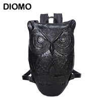 Owl Bag Owl Backpack Female Bolso Vintage Backpack 2015 Newest Style Black Print Owl Leather Backpack