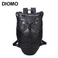 Owl Bag Owl Backpack Female Bolso Vintage Backpack 2015 Newest Style Black Print Owl Leather Backpack