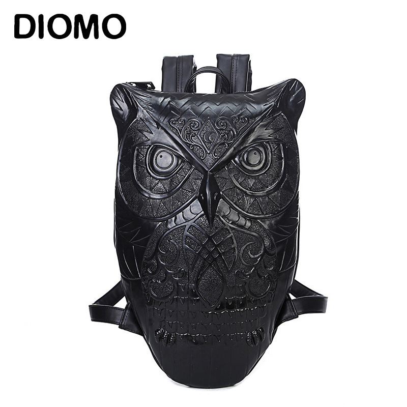 DIOMO Women Backpack Stylish Cool Black PU Leather Owl Backpack Female Hot Sale Women Bag bagpack for girls pu leather owl choker