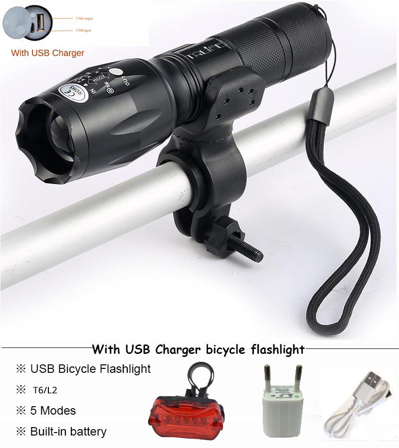 USB Flashlight 8000 lums LED T6 L2 Torch Bicycle Light cycling lamp USB Charger Bike light Bike Lamp Waterproof led ride