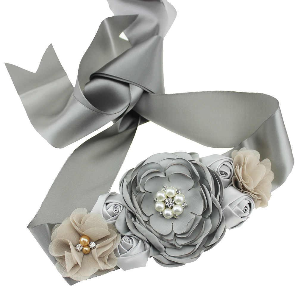 אירופים ואמריקאים טהור יד-שרוף ורדים כלה חתונה שמלה, ילדים של פרח שמלה, חגורה, נשים בהריון של תמונה Pr