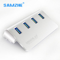 SAMZHE Usb Hub 4 Ports USB 3 0 Hub High Speed Desktop Extension USB Splitter Aluminum