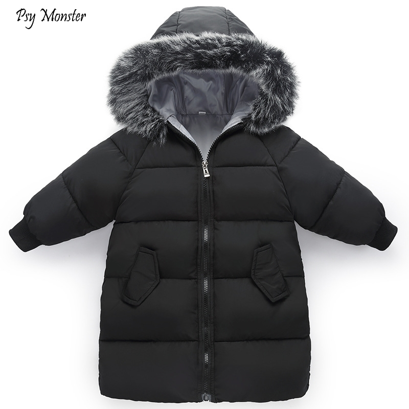 2018 new children's down cotton Jackets Kids padded long Outwear Boys Girls Hooded Fur Collar bread coat Children thick outwear l 3xl 4 colors 2015 new women winter down cotton padded coat female long a line fur collar hooded jacket zipper outwear zs383