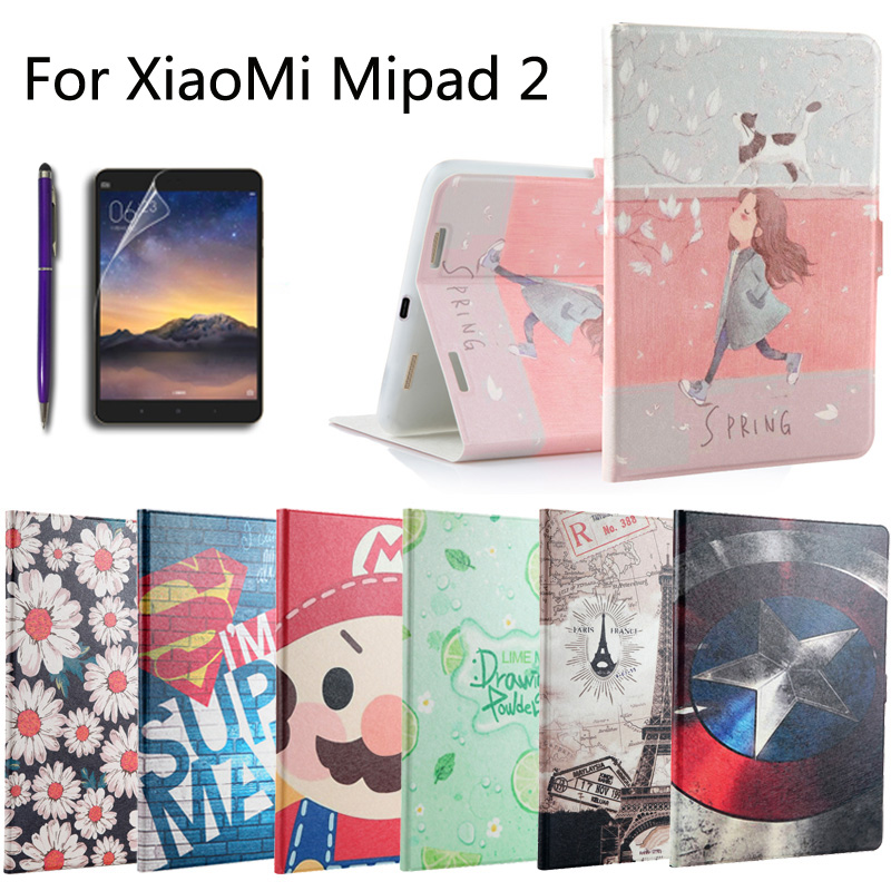 Fashion Painted Flip PU Leather For Xiaomi Mipad2 Mipad 2 7.9 inch Tablet Smart Case Cover + Stylus + Film