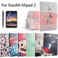 Moda pintado virar pu de couro para xiaomi mipad2 mipad 2 7.9 polegada tablet inteligente caso capa + stylus + film