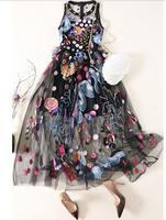 Высокое качество темперамент платье богини женщин вышивка пляжное платье без рукавов сетки женское летнее платье