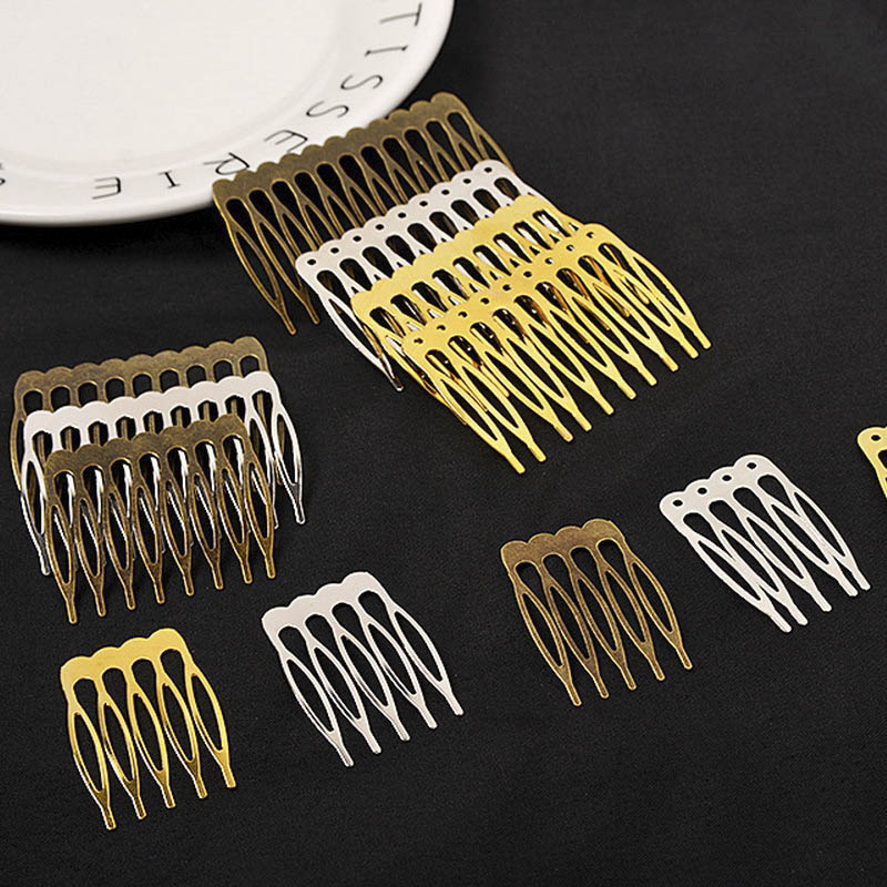 10pcs 5/10 Teeth Gold Bronze Tone Hair Comb Base Hair Claw DIY Wedding Hair Decoration Accessories Women Jewelry Making Findings