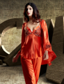 2017 Spring Three-Piece Women Pajamas Sleepwear Emulation Silk Pijama Lace Embroidery V-Neck Sleepwear Three Quarter Sleeve 1531