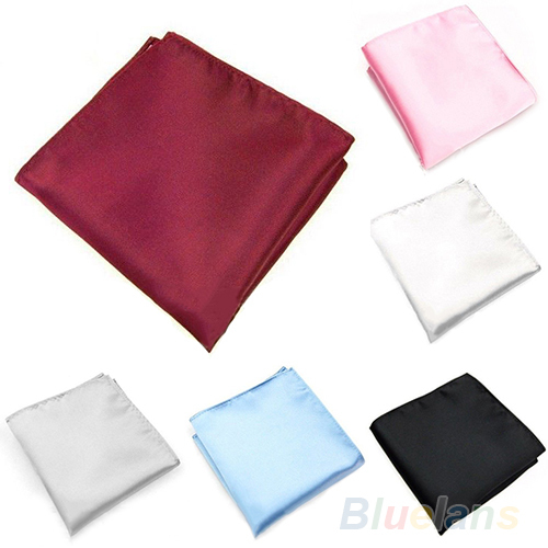 Men's Silk Satin Pocket Hanky Plain Solid Color Wedding Party Square Hankerchiefs 3ZGX