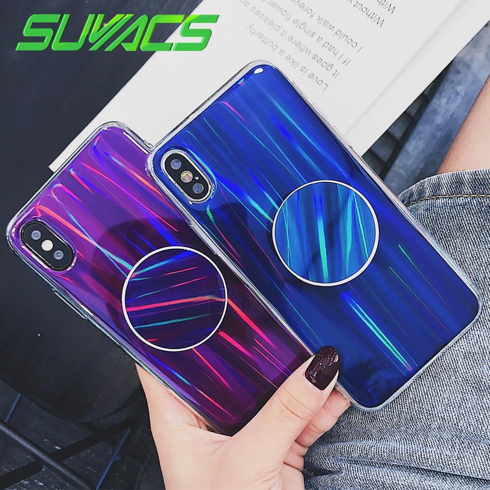 SUYACS Rainbow Holographic Iridescent Blue Purple Laser