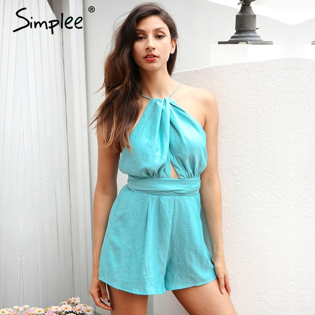 27caaa00233 Simplee Elegant hollow out jumpsuit romper women Sexy backless sashes beach overalls  Summer bluish green party