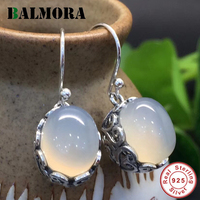 BALMORA 100 Real 925 Sterling Silver Jewelry Elegant Chalcedony Drop Earrings For Women Lover Gift