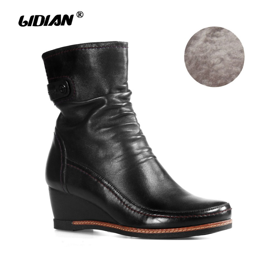 LIDIAN Short Boots Women Wedges Pleats Wrinkled Natural Leather With Button Buckles Round Toe Zipper Shoes Fake Fur Inside B19LIDIAN Short Boots Women Wedges Pleats Wrinkled Natural Leather With Button Buckles Round Toe Zipper Shoes Fake Fur Inside B19