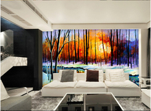 The custom 3D murals,sunshine birch oil painting style papel de parede,living room sofa TV wall bedroom wall paper
