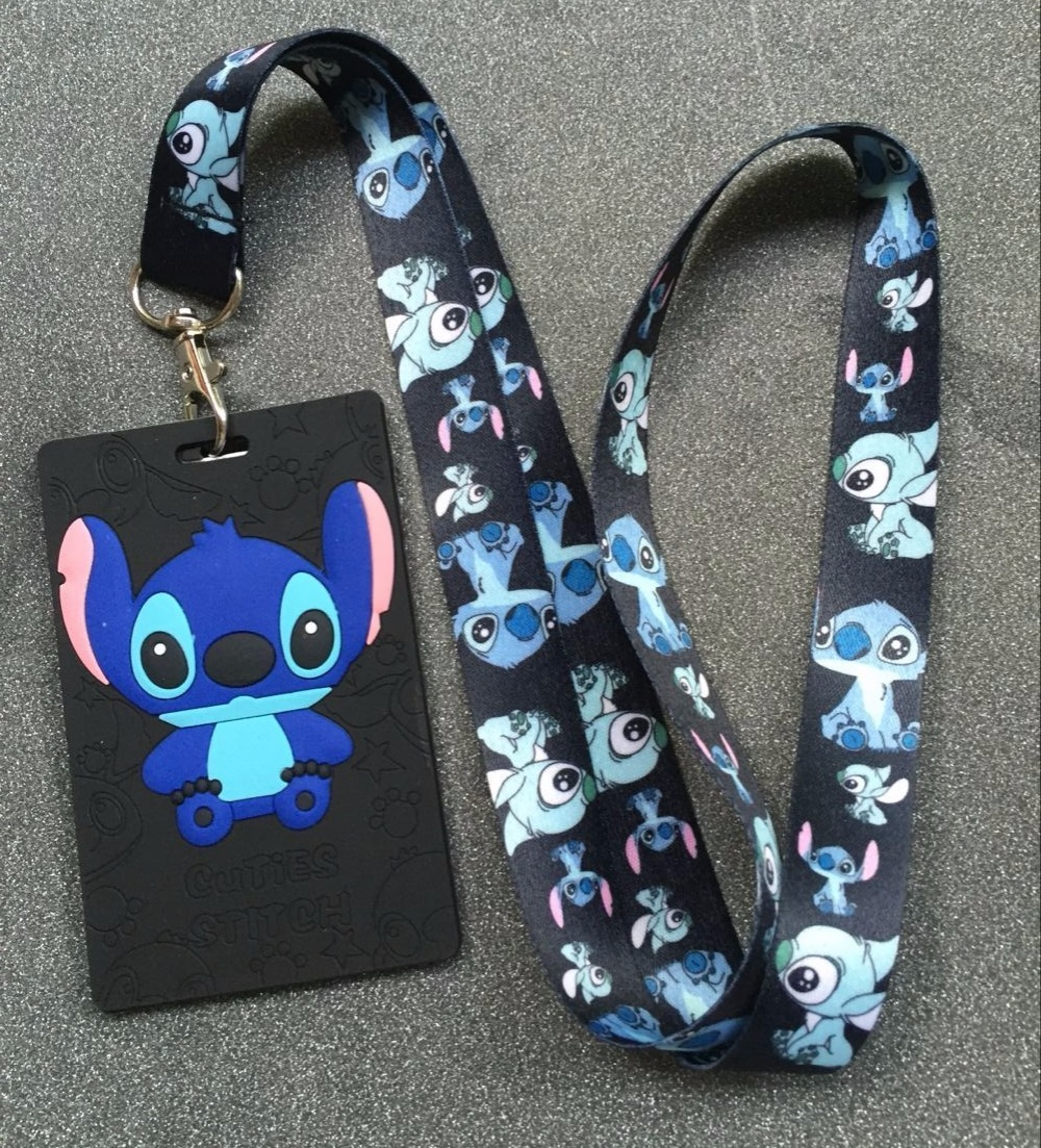 1Pcs Cartoon Stitch High Quality Lovely Cute Lanyard ID Badge Holder Key Neck Strap Kids Gifts(China)