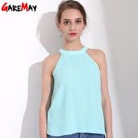 Garemay Off Shoulder Top Women S Sleeveless Halter Neck Blouse Chiffon Blouses Woman Shirt Women Summer