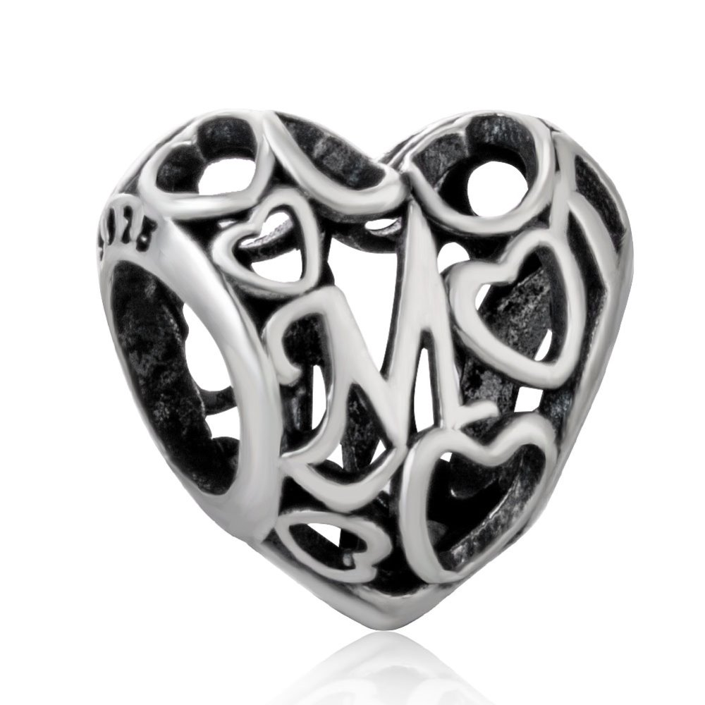 S925 Sterling Silver Hollow Heart Mom Mother Beads fit original Charm Bracelets & Bangles Jewelry Making Mother Gift