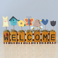 Zakka Welcome Tag Wooden Letters Alphabet Letter Decoration Decorative Crafts Wall Decorations Shop Children's Room Home Decor