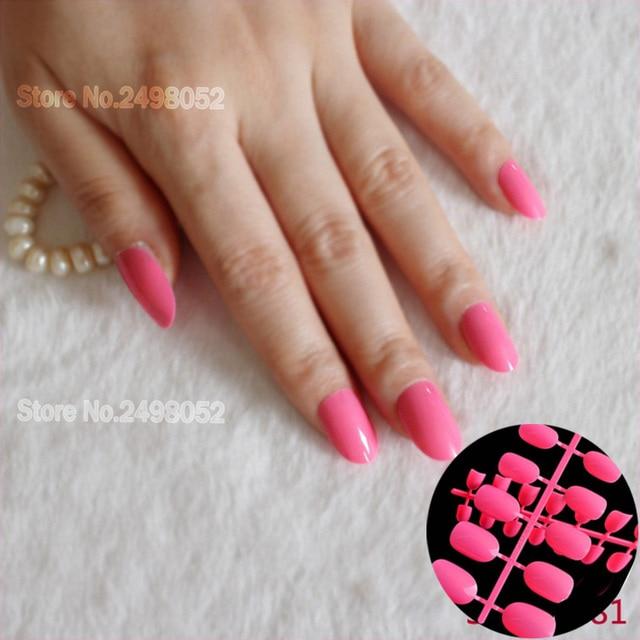 Hot 24pcs False Nails Acrylic Artificial Diy Fake Decorations Bright Pink Oval Shape Candy Nail