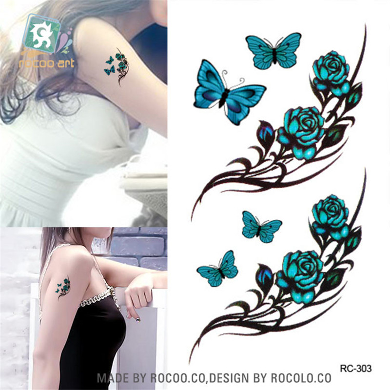 Body Art waterproof temporary tattoos paper for men and women 3d Beautiful butterfly design small arm tattoo sticker RC2303